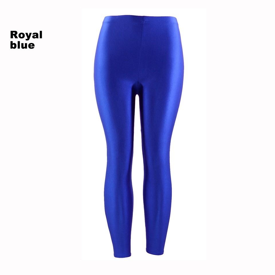 80b1626d83d09 Royal Blue 80s Shiny Neon Costume Leggings Stretch Fluro Metallic Pants Gym  Yoga Dance