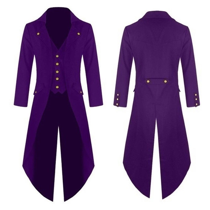 bdc5f9357672 Purple Mens Steampunk Vintage Tailcoat Jacket Gothic Victorian Frock ...