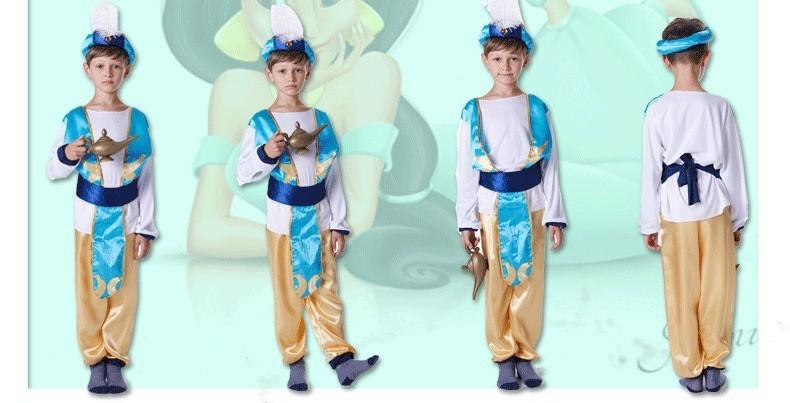 Details About Boys Arabian Genie Aladdin Costume Arab Prince Child Kids Disney Blue Book Week