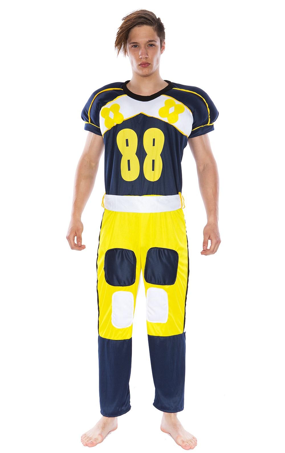Mens American Football Player Fancy Dress Costume Jumpsuit