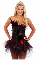 Burlesque Boned Corset Fancy Dress Costume Showgirl Bustier Skirt