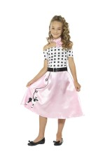Girls 50s Poodle Kids Costume Rock n Roll Fancy Dress Jive Retro Outfit