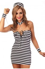 Girls Jail Prisoner Fancy Dress Costume Full Outfit