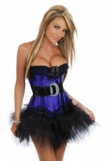Purple boned lace up Corset Skirt
