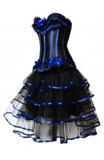 Black with Blue Lace Up Corset,Skirt