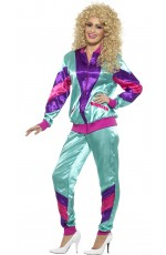 80s Height Of Fashion Purple Shell Suit Tracksuit 1980s Womens Ladies Fancy Dress Costume