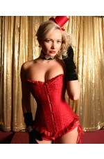 Red rhinestones boned lace up corset with G string