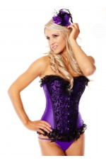Purple Boned lace up corset, g string