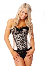 Beige Boned lace up corset