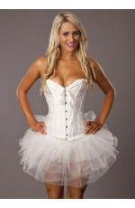White Bridal boned lace up corset with G string