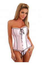 Pink Lace Up corset with g string