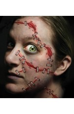 Halloween Trauma Stapled Scary Face Temporary Tattoo