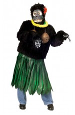 Adult Aloha Gorilla Costume Funny Animal Suit Hawaiian Luau Party Outfit & Mask