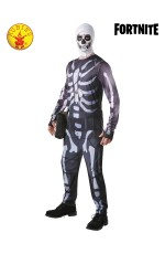 Mens Adult Fortnite Skull Trooper Skeleton Computer Gaming Fancy Dress Costume