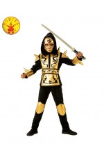 Boys Kids Gold Ninja Fighter Power Japanese Warrior Fancy Dress Costume Child Book Week