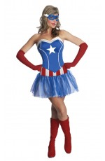 Captain America Costumes - Ladies American Captain Woman Super Hero Fancy Dress Halloween Superhero Licensed Costume