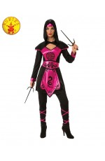 Ladies Ninja Assassin Pink Warrior Costume Womens Japanese Deadly Halloween Black Fancy Dress
