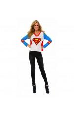 Womens Supergirl Tshirt Mask Ladies Super Hero Justice League Costume
