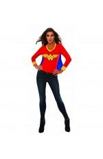 Womens Wonder Tshirt Mask Super Hero Justice League Fancy Dress Costume Outfit