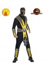 Mens Mortal Kombat Scorpion Fancy Ninja Halloween Karate Costume