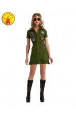 Sexy Top Gun 80s Military Ladies Costume Aviator Pilot