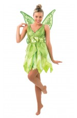 Fairy Costumes - Licensed Disney Tinker bell TINKERBELL Costume + Wings Fairy Green Adult Fancy Dress Peter Pan