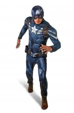 Licensed Mens Avengers Captain America Winter Soldier Superhero Muscle Hero Avengers Halloween Costume Outfit Fancy Dress
