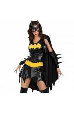 Ladies Halloween Rubie's Deluxe Batgirl Bat girl Fancy Dress Costume Outfits