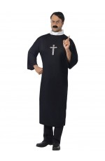 Priest Costume Robe Clerical Collar Adult Mens Vicar Religious Church Fancy Dress Halloween Outfit