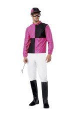 Pink Black Jockey Horse Racing Rider Mens Uniform Fancy Dress Costume Outfit Hat