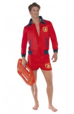 Licensed Mens Baywatch Mens Beach Lifeguard Uniform Smiffys Fancy Dress Costume Outfits