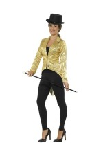 Ladies Gold Fancy Dress Tailcoat Sequin Jacket Cabaret Outfit Showtime Waistcoat