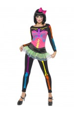 Ladies 80s Neon Skeleton Costume