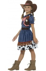 Texan Cowgirl Rodeo Wild West Western Sheriff Fancy Dress Up Girl Costume