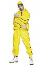 Licensed Mens Ali G Rapper Suit Yellow Tracksuit 80s Hip Hop Fancy Dress Costume