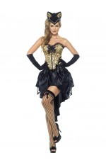 Adults Womens Sexy Cabaret Burlesque Kitty Cat Animal Halloween Fancy Dress Costume