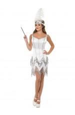 Fever Flapper Dazzle Dress White 1920s 20s Roaring Costume Charleston Gatsby Fancy Dress