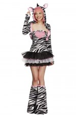 Fever Sexy Zebra Safari Animal Jungle Zoo Bodysuit Catsuit Womens Ladies Fancy Dress Costume