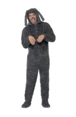 Fluffy Dog Jumpsuit Onesie Animal Funny Puppy Fancy Dress Up Mens Costume