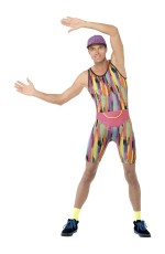 Mr Energizer 1990s 90s Retro TV Fitness Instructor Motivator Mens Costumes Aerobics Instructor Adults