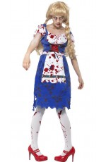 Zombie Costumes - Zombie Bavarian Female Costume With Dress Halloween Fancy Dress Outfit German Bavarian Oktoberfest Adult Ladies Horror