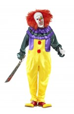 Licensed Halloween Classic Horror Clown Costume with Jumpsuit and Mask