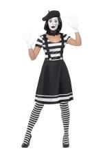 Ladies Mesmerizing Mime Costume French Artist Clown Circus Funnyside Fancy Dress Outfits