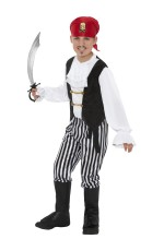 Pirate Boy Kids Fancy Dress Caribbean High Seas Buccanneer Halloween Book Week Party Costume