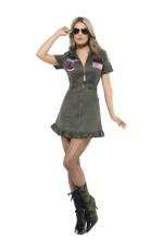 Top Gun 80s Womens Military Costume Green Dress Sunglasses Aviator Pilot