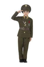 Army Officer Costume Kids Boys Ceremonial Soldier Officer WW2 Military Uniform