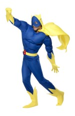 Mens Padded Chest Licensed Bananaman Costume Fancy Dress Cartoon Eric Superhero Super Hero Outfit