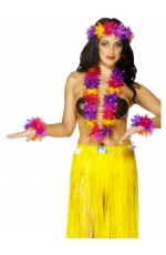 Womens Licensed Hawaiian 4 Piece Garland Set Tropical Hula Luau Grass Dancer Headband Garland and Wristband Beach Lei Hula Girl Party Flower Fancy Dress Costume