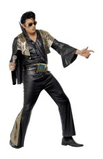 Elvis Presley Black Gold Licensed Costume Rock and Roll 50s 1950s Rock Star