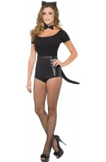 Womens Instant Cat Set Kit Fancy Dress Costume Black Ears Bow Tie Tail Halloween Hen Night